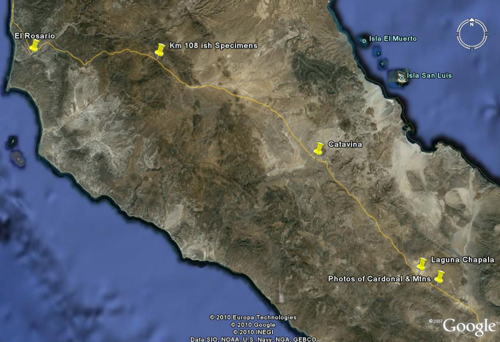 Close up google satellite image of central Baja California